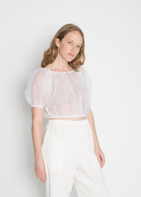 Carlisle Top, Silk Organza in White