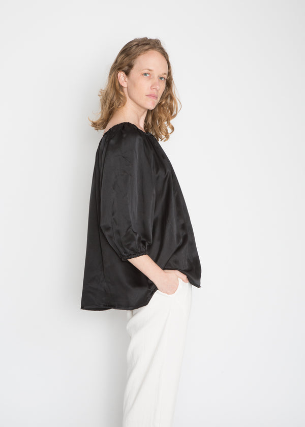 Cassatt Top, Silk Charmeuse in Black