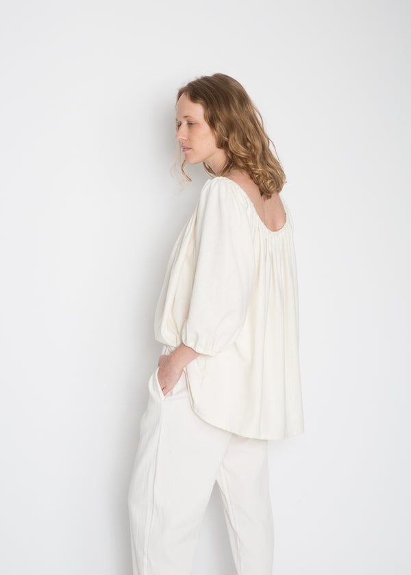 Cassatt Top, Silk Noil in Natural