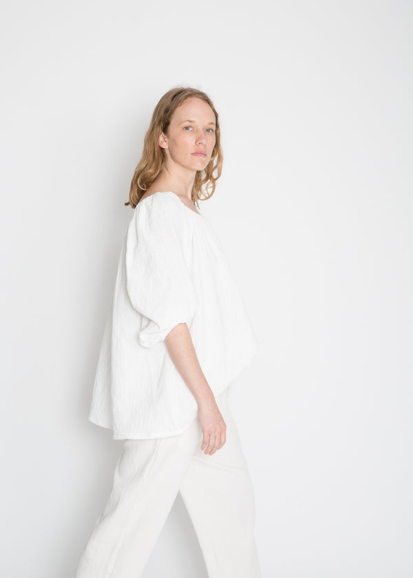 Oversized Cassatt Top, Organic Cotton Bubble Gauze in White