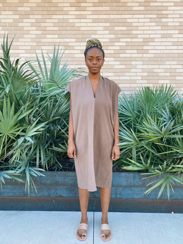 Everyday Dress, Textured Cotton in Acacia Iron