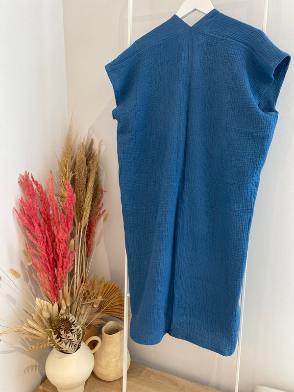 Petite Everyday Dress, Bubble Gauze in Indigo