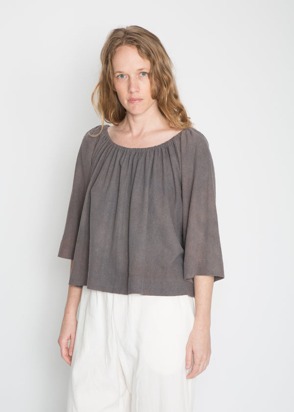 Ellis Top, Silk Noil in Indigo & Acacia