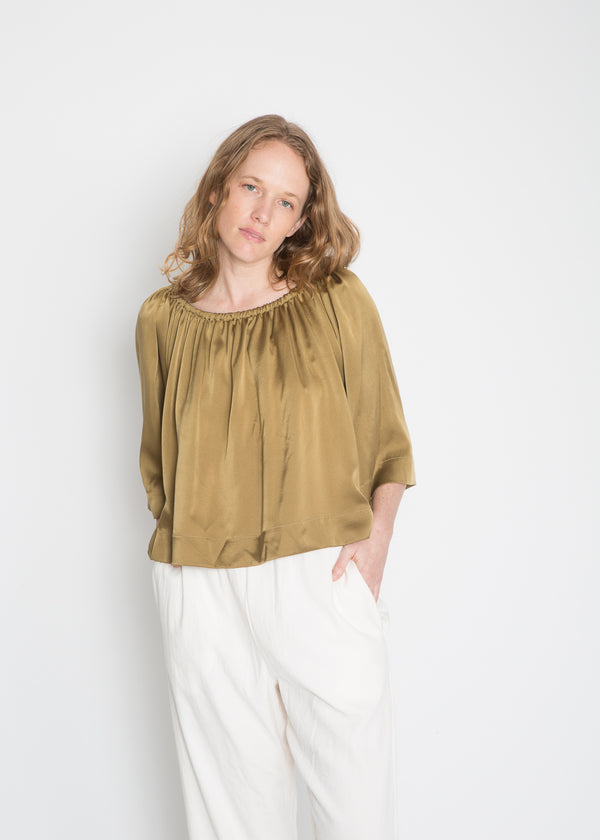 Ellis Top, Silk Charmeuse in Myrobalan & Iron