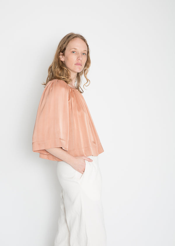 Ellis Top, Silk Charmeuse in Bardot