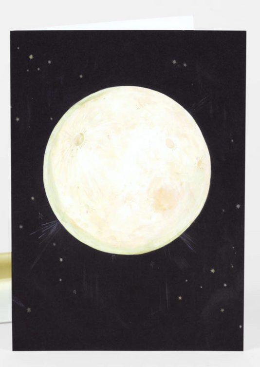 A hand painted picture of a full moon set atop a black night sky