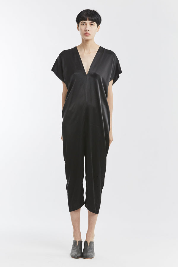 STUDIO SALE: Everyday Jumpsuit, Silk Charmeuse in Black, V.4