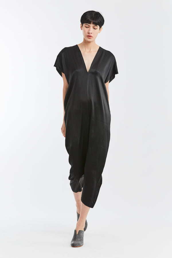 STUDIO SALE: Everyday Jumpsuit, Silk Charmeuse in Black, V.3