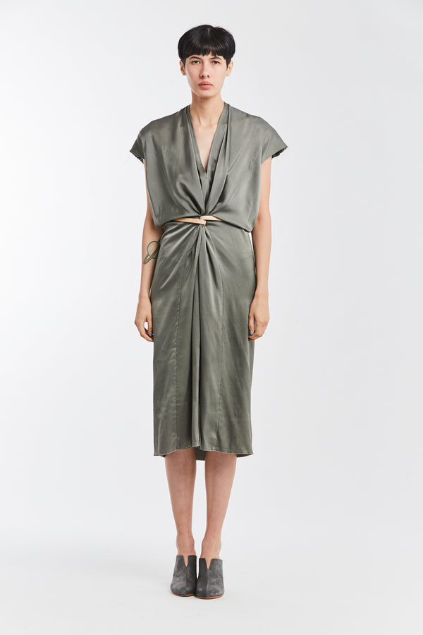 Knot Dress, Silk Charmeuse in Lanai