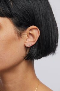 Plume Pave Bar Stud Earring