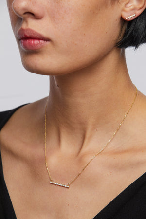 Plume Pave Bar Necklace