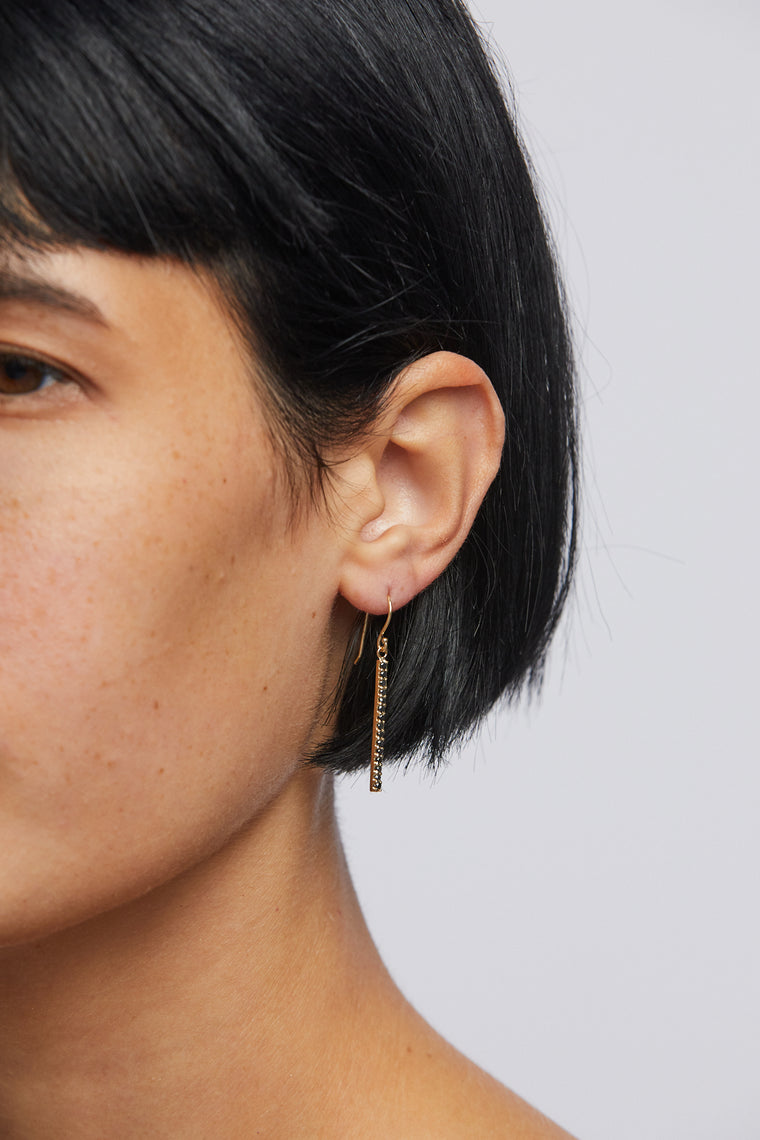 Plume Pave Long Earring