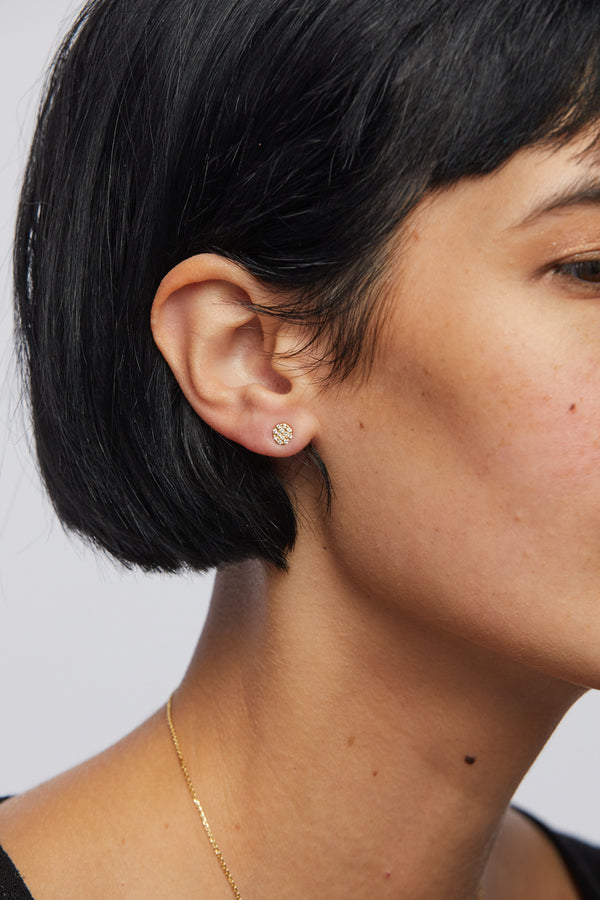 Plume Pave Disc Earring