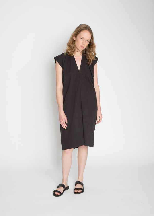 Petite Everyday Dress, Cotton Lyocell in Black FINAL SALE