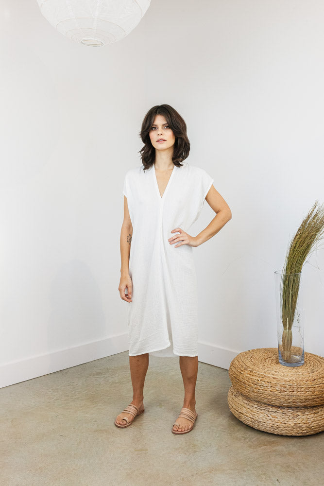 Petite Everyday Dress, Bubble Gauze in White FINAL SALE