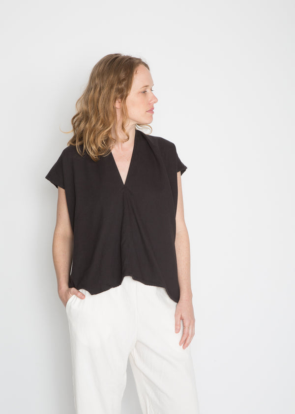 Everyday Top, Cotton Lyocell in Black FINAL SALE