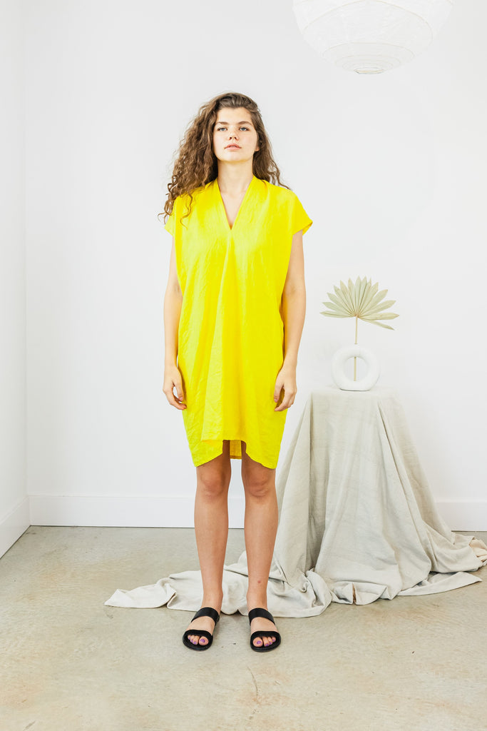 Everyday Dress, Linen in Citron