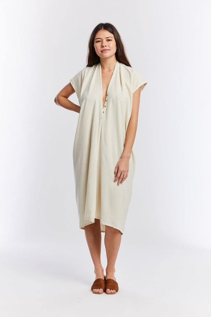 Everyday Nursing Dress, Silk Noil in Natural