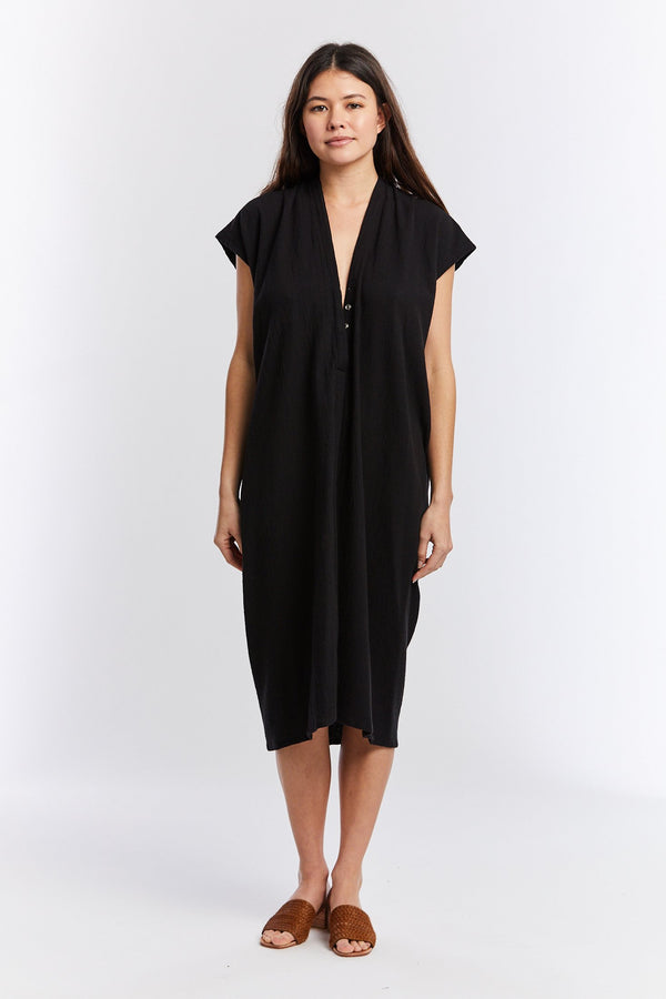 Everyday Nursing Dress, Textured Cotton in Black