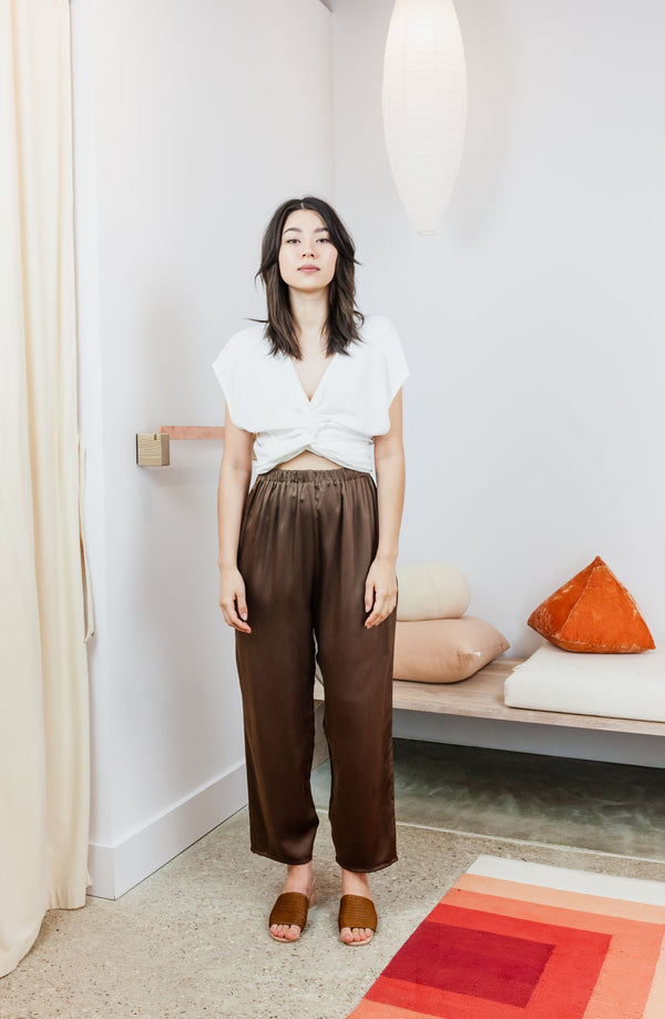 Hadid Pant, Silk Charmeuse in Badlands