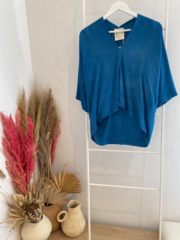 Petite Muse Top, Rayon Crepe in Indigo