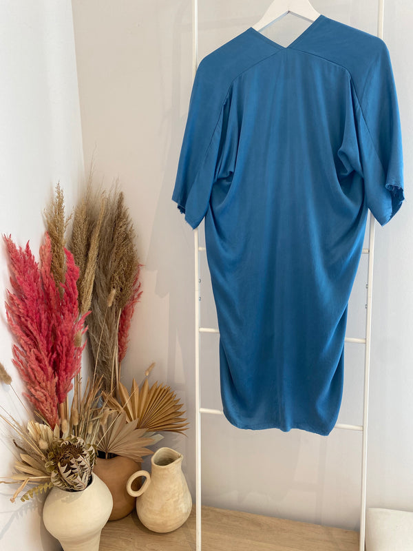 Petite Muse Dress, Silk Charmeuse in Medium Indigo FINAL SALE