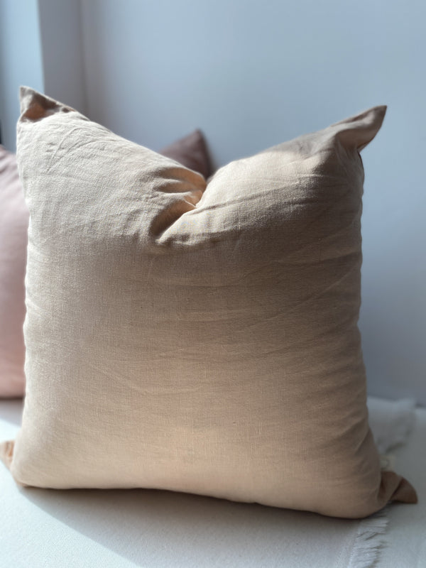 Pillow, Large Linen Square Pillow in Pecan