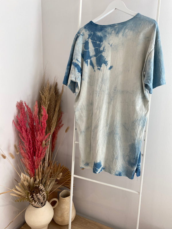MBS Naturally Dyed Sleep Shirt, Organic Cotton in Indigo Tie-Dye