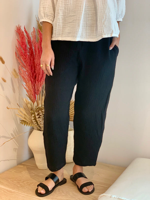 Petite Hadid Pant, Bubble Gauze in Black  FINAL SALE