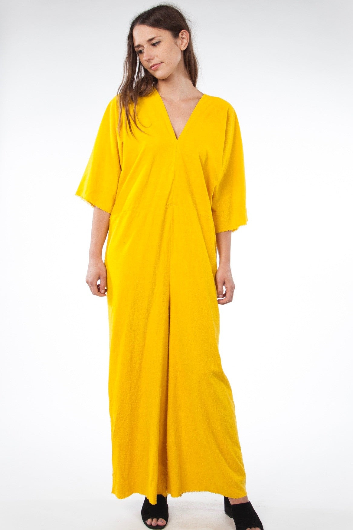 Muse Jumpsuit, Silk Noil in Marigold