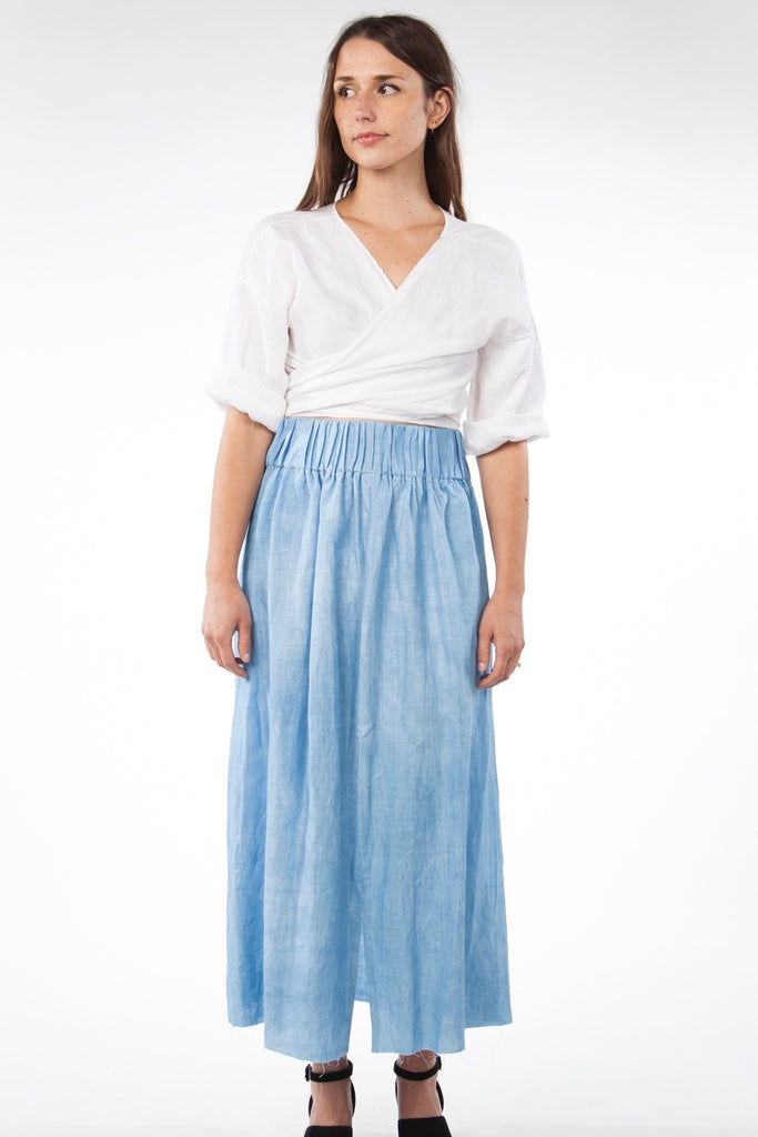 Paper Bag Skirt, Linen in Light Indigo