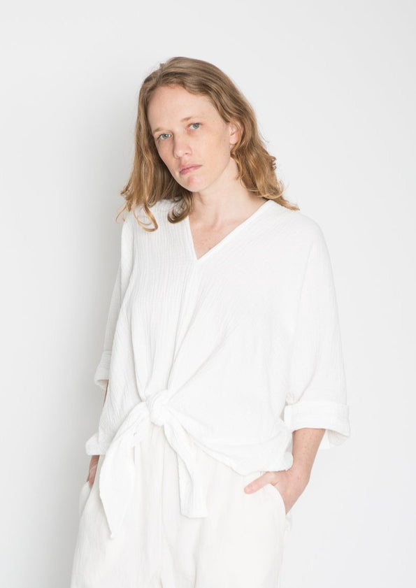Kahlo Top, Organic Cotton Bubble Gauze in White