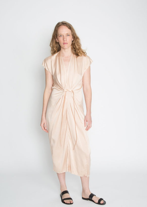 Knot Dress, Silk Charmeuse in Avocado