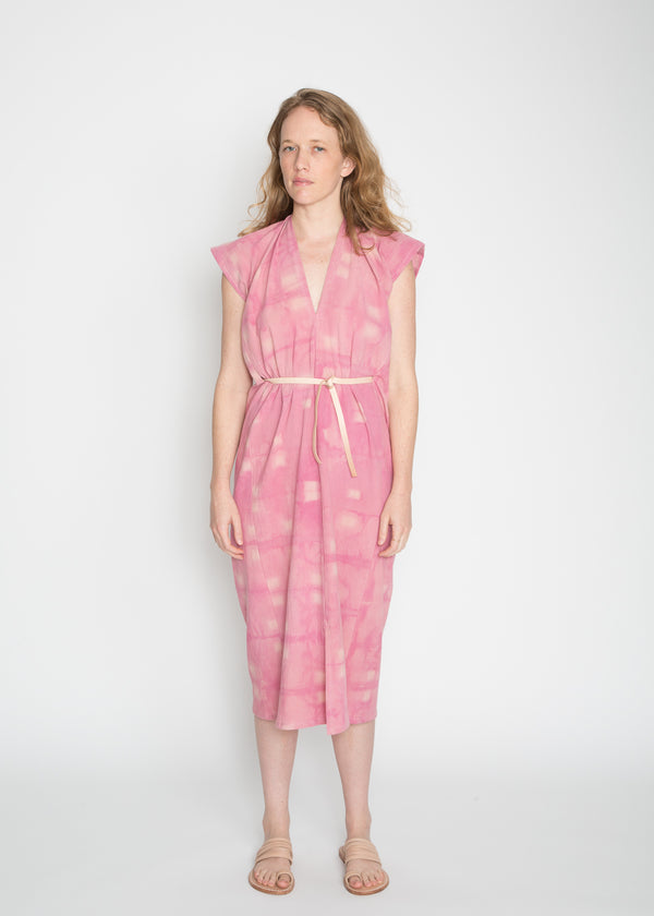 Knot Dress, Crinkle Cotton in Cochineal Overdye
