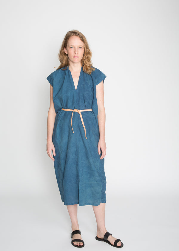 Knot Dress, Cotton Linen in Indigo