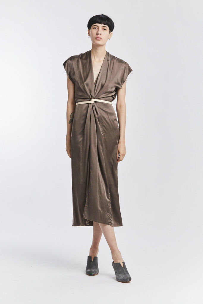 Knot Dress, Silk Charmeuse in Badlands