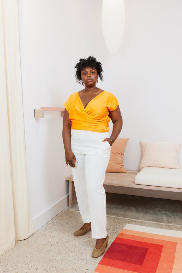 Hadid Pant, Textured Cotton in White FINAL SALE