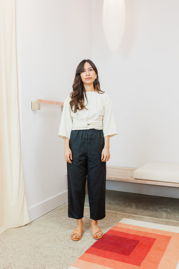 Petite Hadid Pant, Cotton Linen in Black