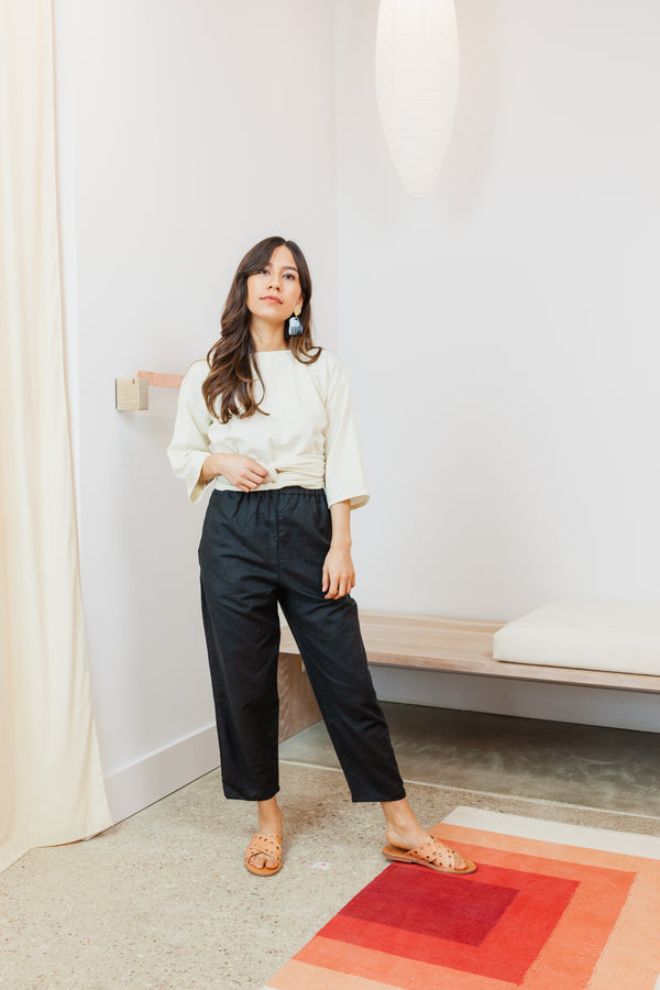 Petite Hadid Pant, Linen Cotton Blend in Black