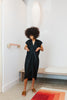 Petite Knot Dress, Cotton Linen in Black