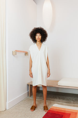 Petite Everyday Dress, Silk Noil in Natural