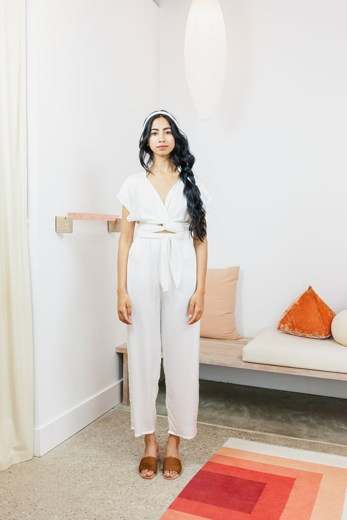 Hadid Pant, Silk Charmeuse in White