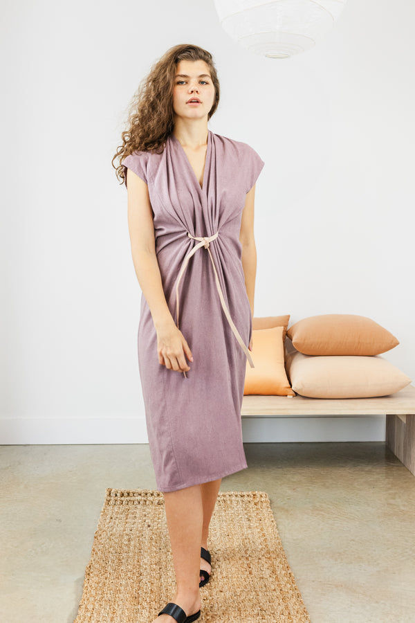 Knot Dress, Silk Noil in Rambler