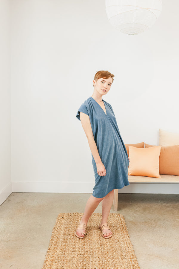 Petite Everyday Dress, Silk Noil in Indigo