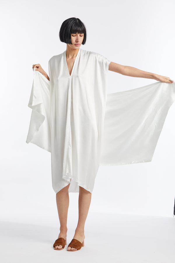 Sarong, Silk Charmeuse in White