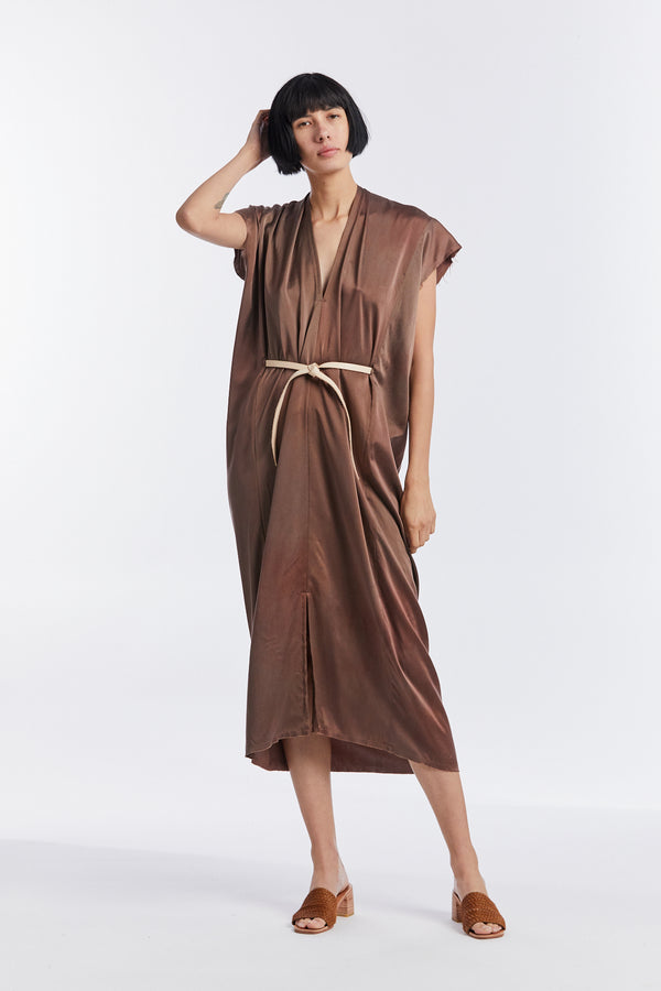 Knot Dress, Silk Charmeuse in Acacia V.I