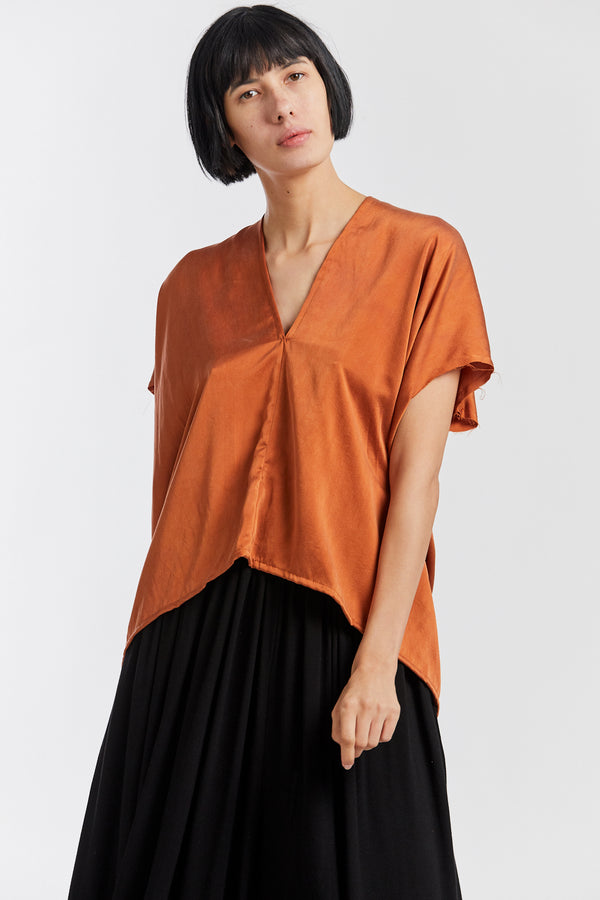 Petite Everyday Top, Silk Charmeuse in Acacia