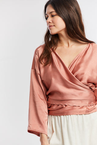 Wrap Top, Silk Charmeuse in Acacia V.I