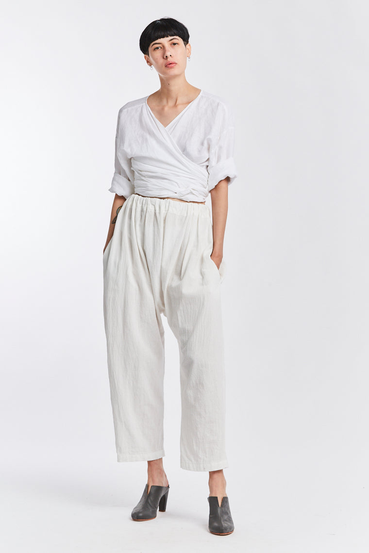 Kusama Pant, Textured Cotton in White
