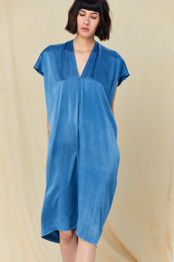 Petite Everyday Dress, Silk Charmeuse in Medium Indigo FINAL SALE